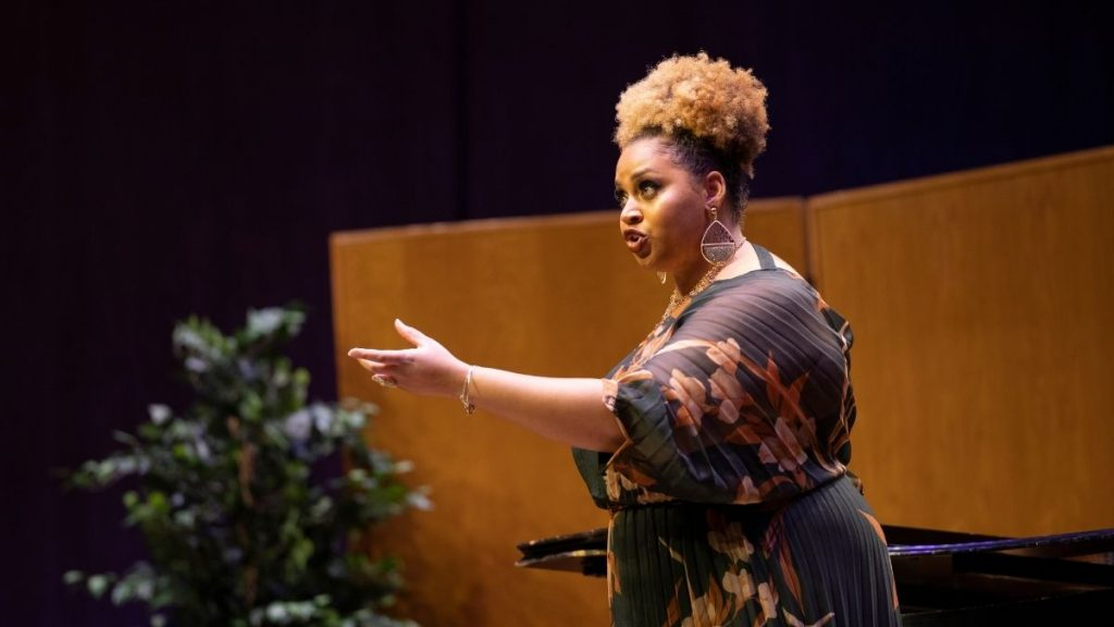 woman singing at the Alltech Vocal Scholarship Competition